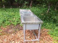 Stainless steel industrial twin sink