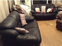 2 x 2 seater navy leather sofas - practical colour for families!!!