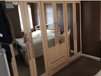 Excellent pine double bed, wardrobe ,pine wide chest of drawers,pine single wardrobe for kids