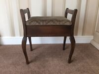 Piano Stool (Antique) with Storage - Dark Wood (mahogany?) - Structurally Sound
