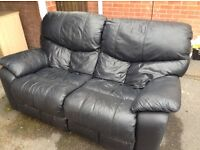 2 leather sofas for sale - good condition. One of sofas had a recliner, only one side working