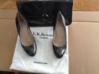Grey patent matching shoes and handbag. LK Bennett. Court shoes, clutch bag.