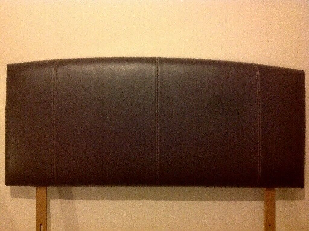 Dark Chocolate Brown faux Leather Effect Reversable Double Headboard - Excellent Condition