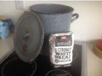 Vintage Grey Enamel Bread/Flour Bin