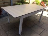 Solid White Washed Oak Extending Dining Table.