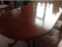 Dining table abd 6 chairs (2carvers)