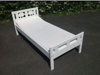 Childs bed, white with removable guard rail, 165 X 75 cm including matress