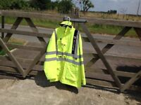 Fluorescent coat,breathable,waterproof,loads pockets very clean,used only once 2 lay turf in rain