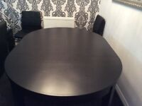 Black Ikea Round/Oval Extendable Dining Table Only. No Chairs. Excellent Condition.
