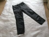 Men's leather 5 pocket jeans