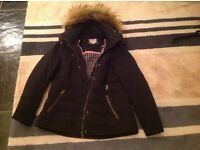 Ladies black Fat Face Down filled coat, size 14, like new
