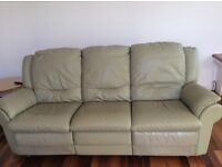 Pale green leather sofa