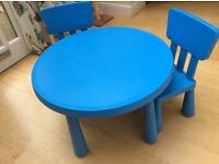 Blue round table and matching chairs