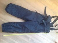 SALOPETTES Childs ski/sledging. Rucanor make, black, size 128