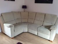 Corner Sofa, Manual Recliner Chair and Footstool with storage