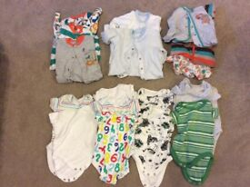 Kids sleep suits and vests (0-3months)