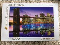 3000 piece New York bridge and city at night Clementoni jigsaw