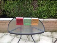 Red green yellow glass bricks