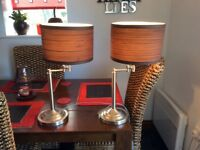 Pair of brushed chrome table lamps with shades + bulbs