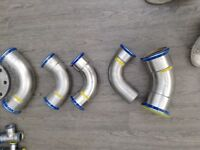 320+ x Geberit Mapress Plumbers Fittings Stainless Steel 316 & Copper Job Lot