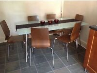 6 seater - Frosted glass top dining table, chrome frame and legs