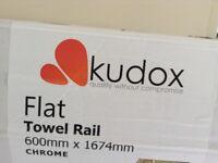 Brand new boxed Kudox large chrome towel radiator / warmer.