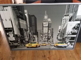 Large Black & White New York Picture with yellow cabs