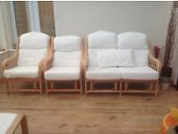 Three piece conservatory furniture set. Wooden frame. Washable covers.