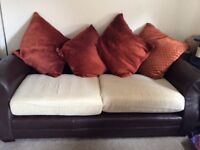 3 Seater sofa leather and fabric cushions