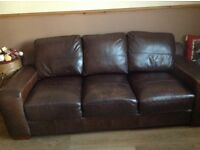 Brown leather Three Seater sofa and a two seater sofa