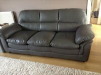 GREY LEATHER 3 SEATER AND 2 SEATER SOFA
