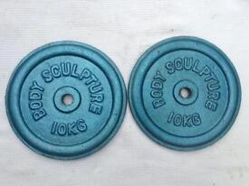 6 x 10kg Bodysculpture Blue Standard Cast Iron Weights