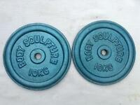 6 x 10kg Bodysculpture Blue Standard Cast Iron Weights