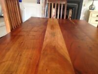 Solid wood dining table and six chairs. 71 inches x35ingood condition