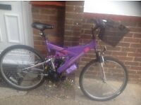 Ladies Dual Suspension MTB 18 sp.With Basket and Lights