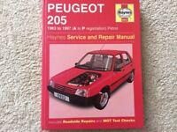Haynes Peugeot 205 workshop manual inc Gti