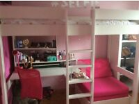 Stompa High Sleeper Bed with desk, shelving and pink sofa bed.