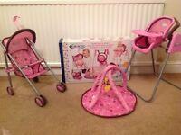 Baby doll play set. Pushchair, high chair & playmat