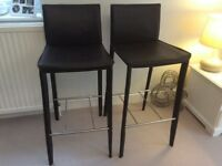 2 good quality John Lewis leather kitchen stools