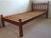 Single Wooden Bed Frame - Pine wood, solidly made