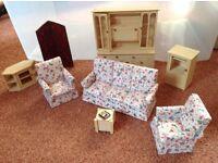 Dolls' house lounge furniture.