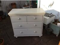 Victorian 4 draws chest of draws painted in lovely light grey.
