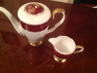 Antique tea pot jug red white gold Gladstone no chips fine bone china