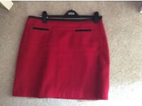 M&S red lined skirt, size 14