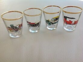 Shot Glasses Classic Cars Set of Four by Ruhrglas c1950