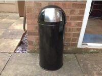 50 ltr black/ chrome bullet bin