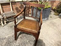Antique chair with leather seat