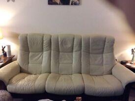 Stressless cream leather recliner sofa