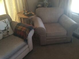 Sofa bed and armchairs, almost new, mink chenille