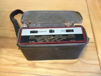 1964 Murphy transistor radio in leather case with shoulder strap.